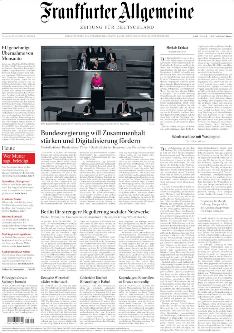 Cover of Frankfurter Allgemeine (Germany)