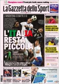 Portada de La Gazzetta dello Sport (Italie)