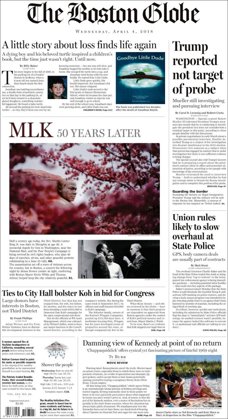 Newspaper Boston Globe (USA)  Newspapers in USA  Wednesday's