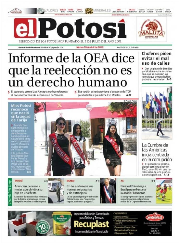 Newspaper Diario de Potosí (Bolivia). Newspapers in