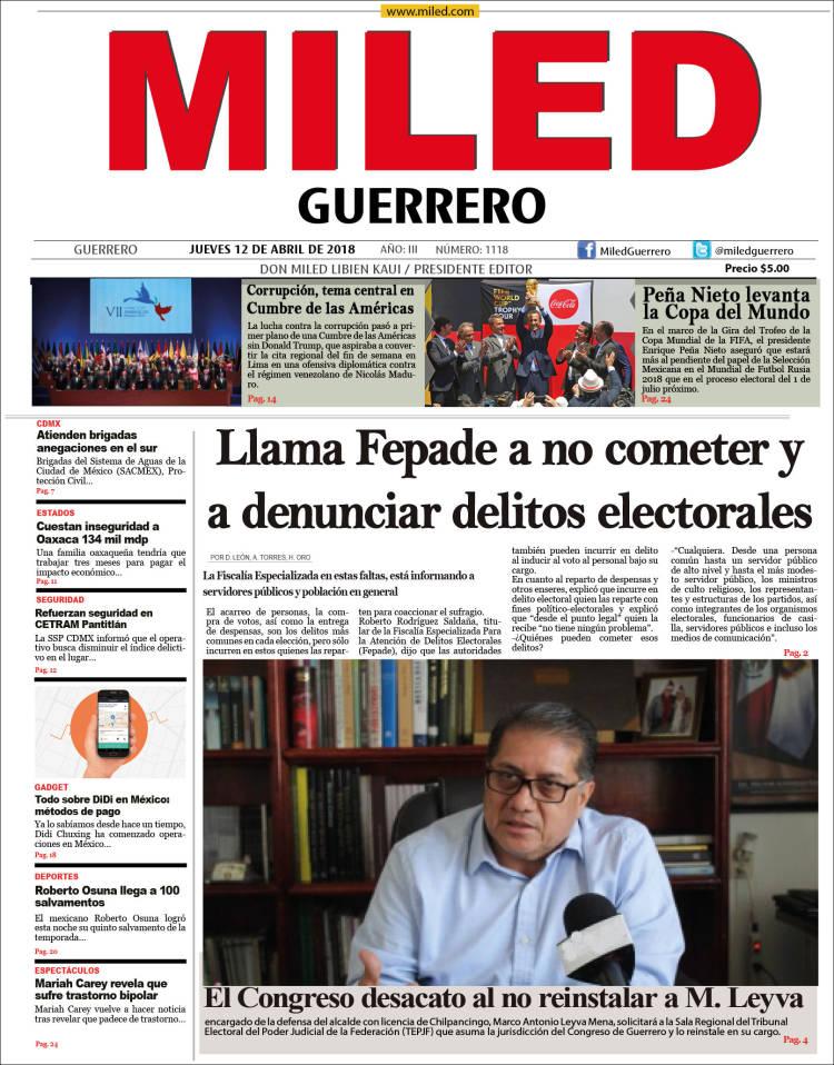 Periódico Miled - Guerrero (México). Periódicos de México. Edición ...