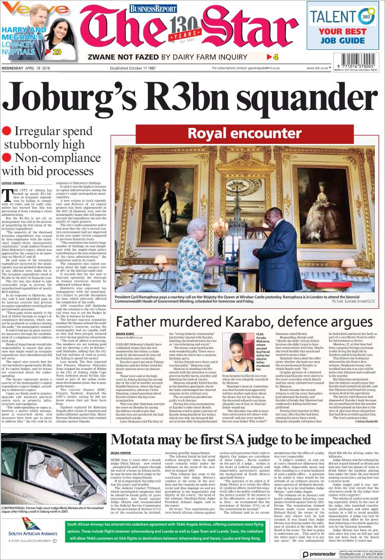 Portada de The Star (South Africa)