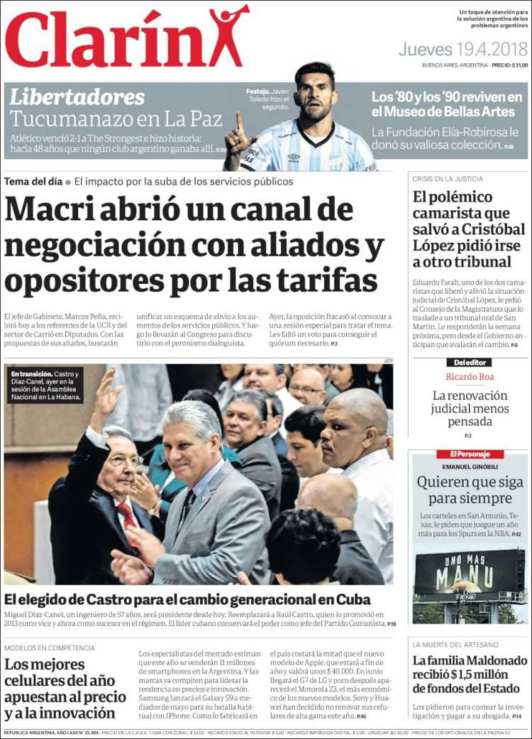 Newspaper Clarín (Argentina). Newspapers in Argentina. Thursday\'s ...