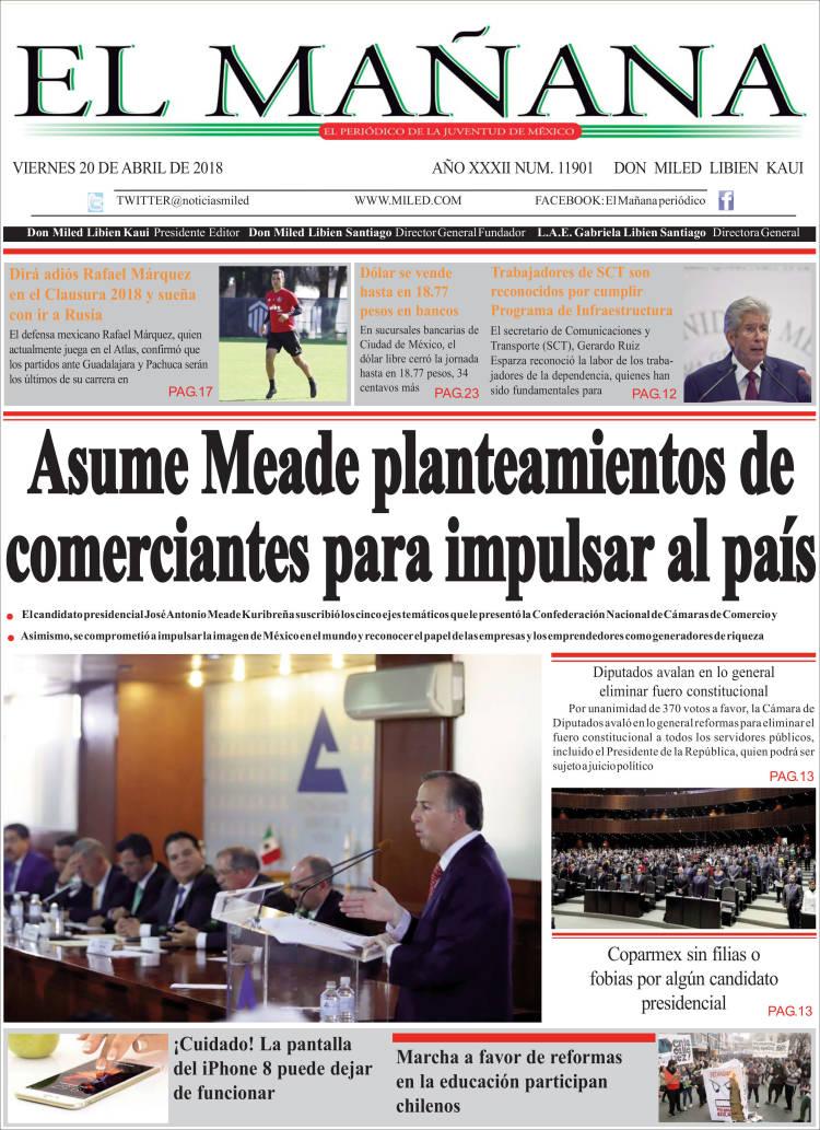 Portada de El Mañana de Toluca (México)