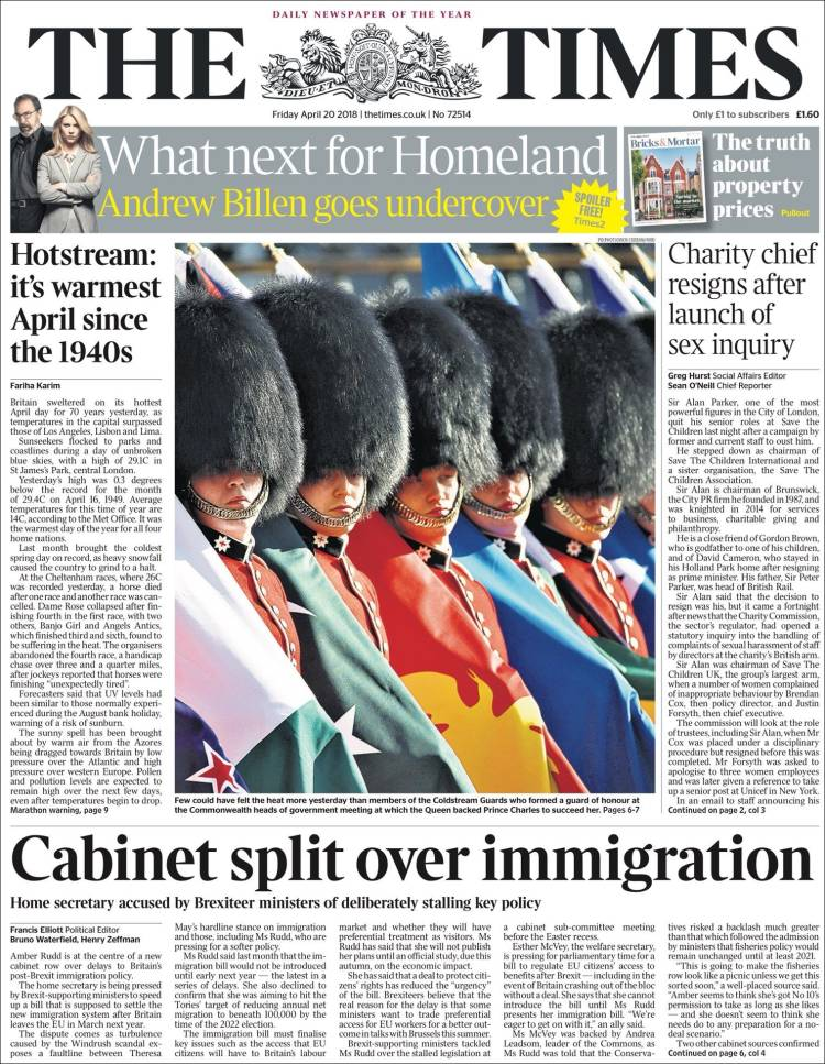 Portada de The Times (Royaume-Uni)
