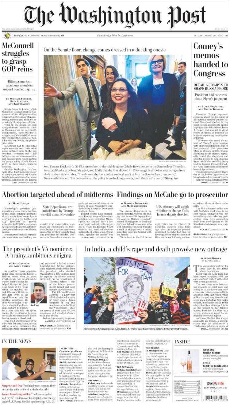 Portada de The Washington Post (États-Unis)