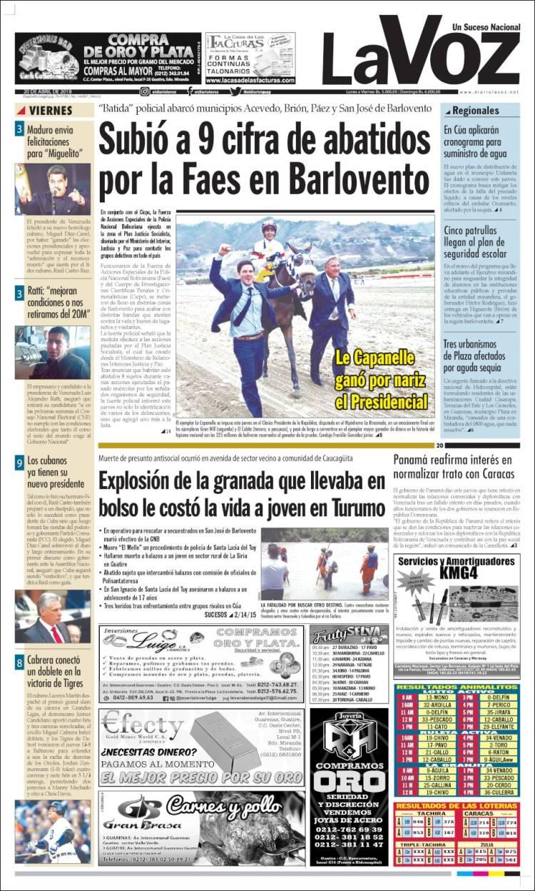 Portada de Diario La Voz (Venezuela)
