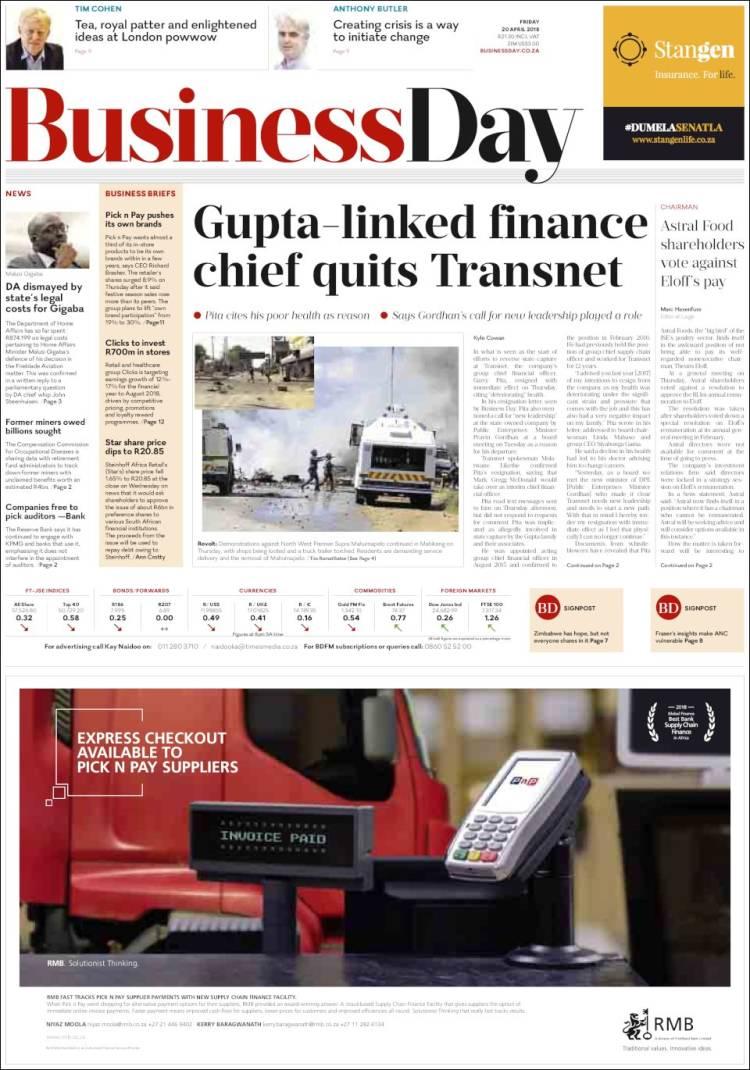 Portada de Business Day (South Africa)