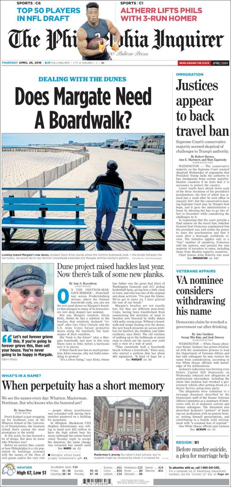 Portada de Philadelphia Inquirer (États-Unis)