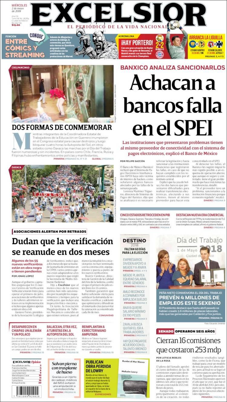 5100a329bc2 Periódico Excelsior (México). Periódicos de México. Edición de ...
