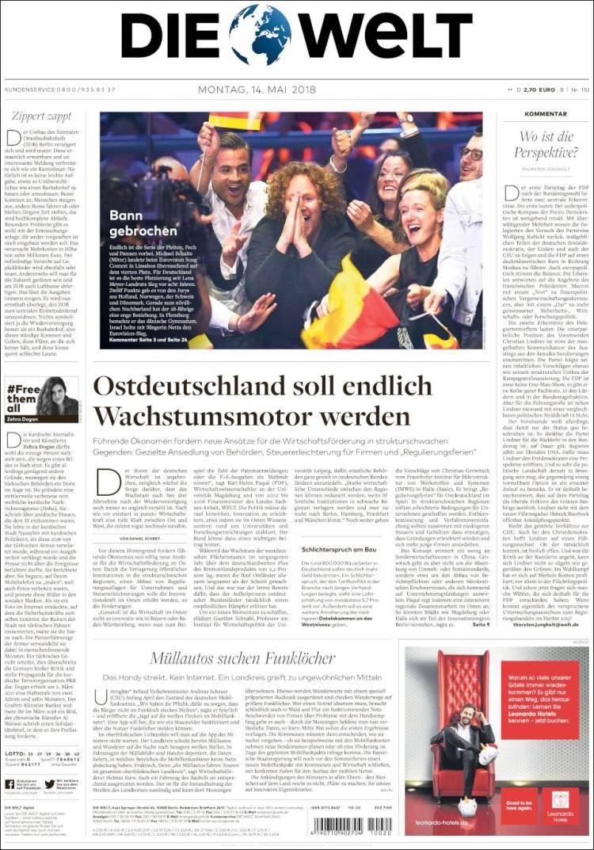 Portada de Die Welt (Germany)