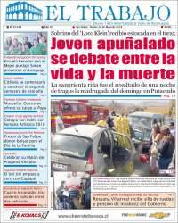 Portada de El Trabajo (Chili)