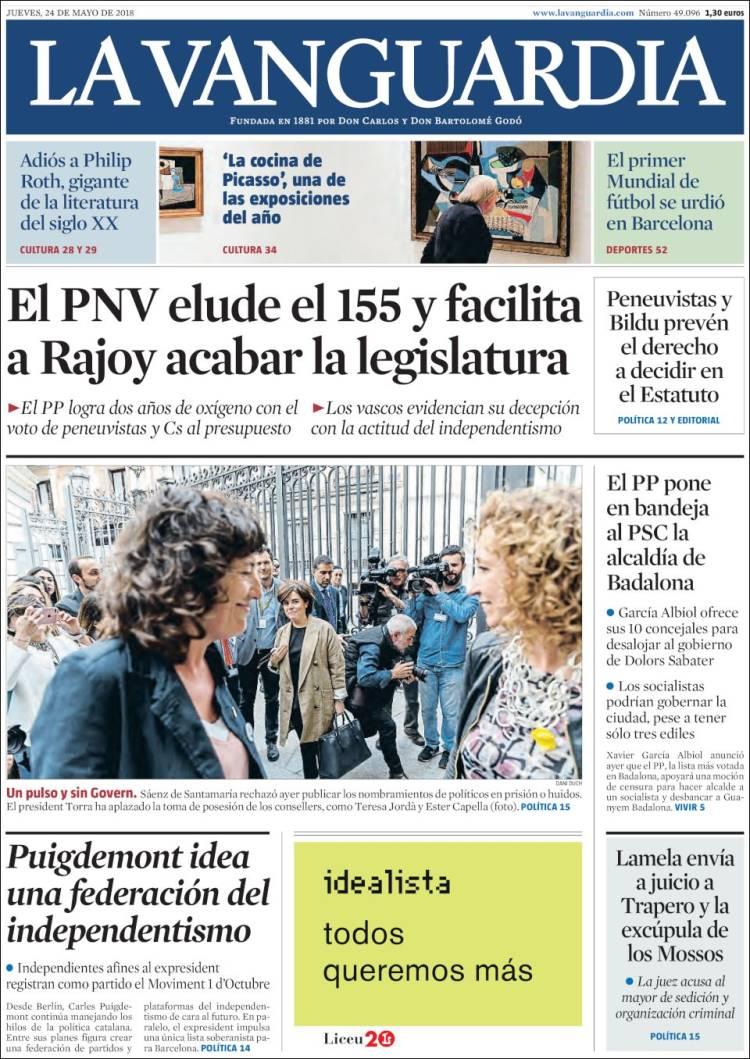 Periódico La Vanguardia (España). Periódicos de España. Edición de ...