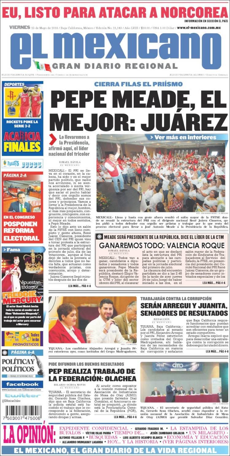 Portada de El Mexicano - El Gran Diario Regional (Mexique)