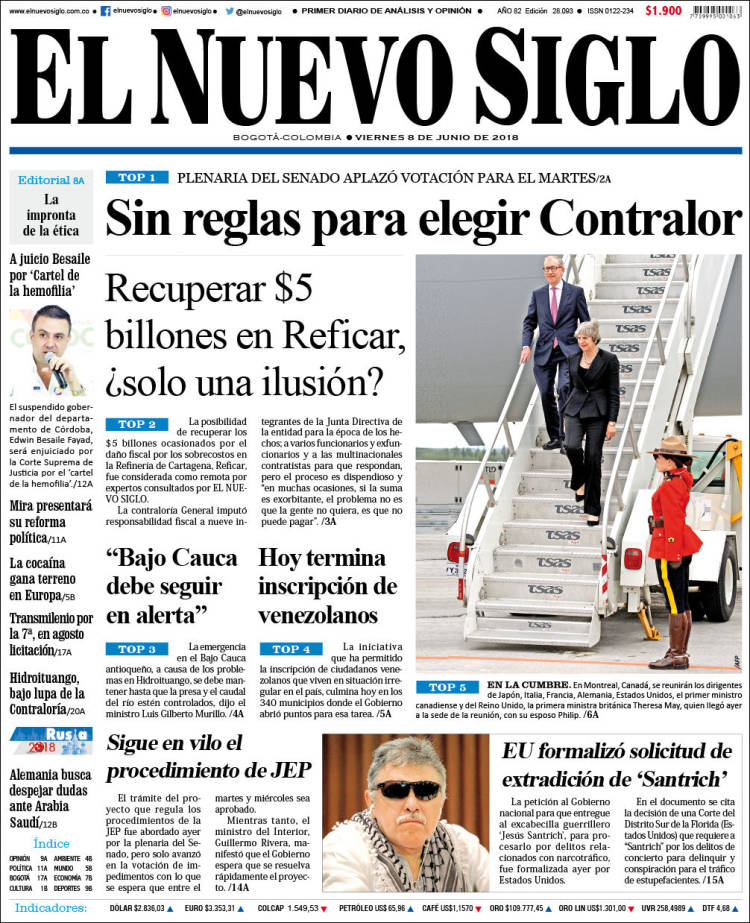 Portada de Nuevo Siglo (Colombia)