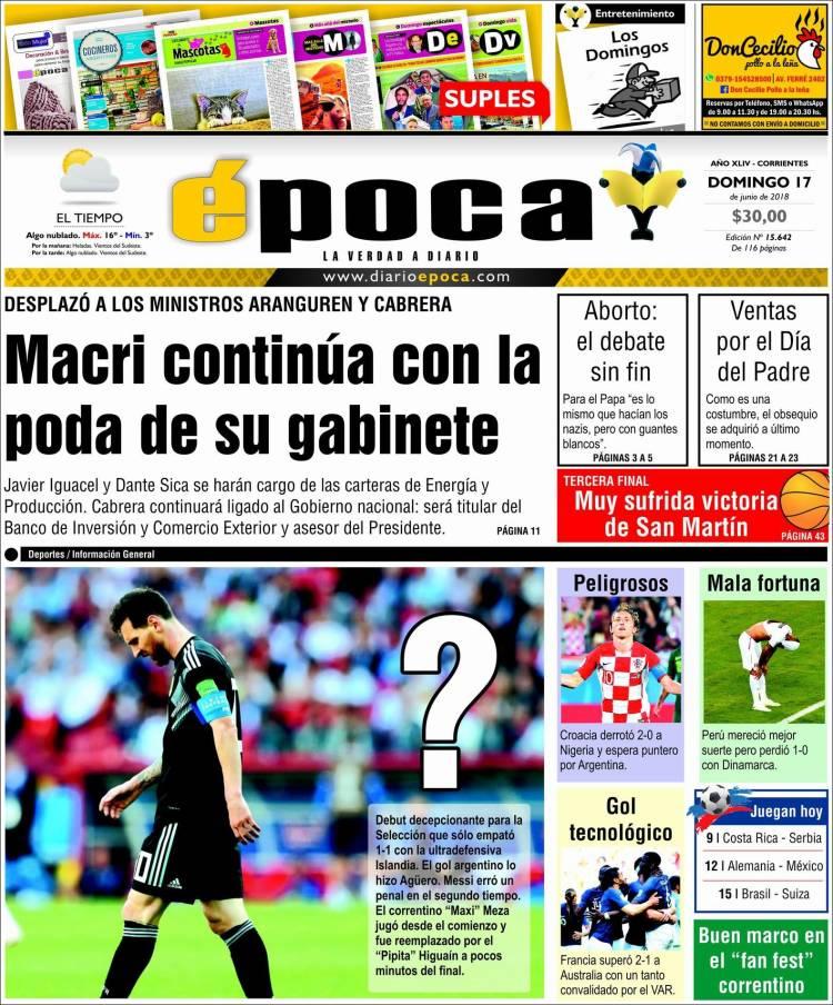 Portada de Diario Época (Argentine)