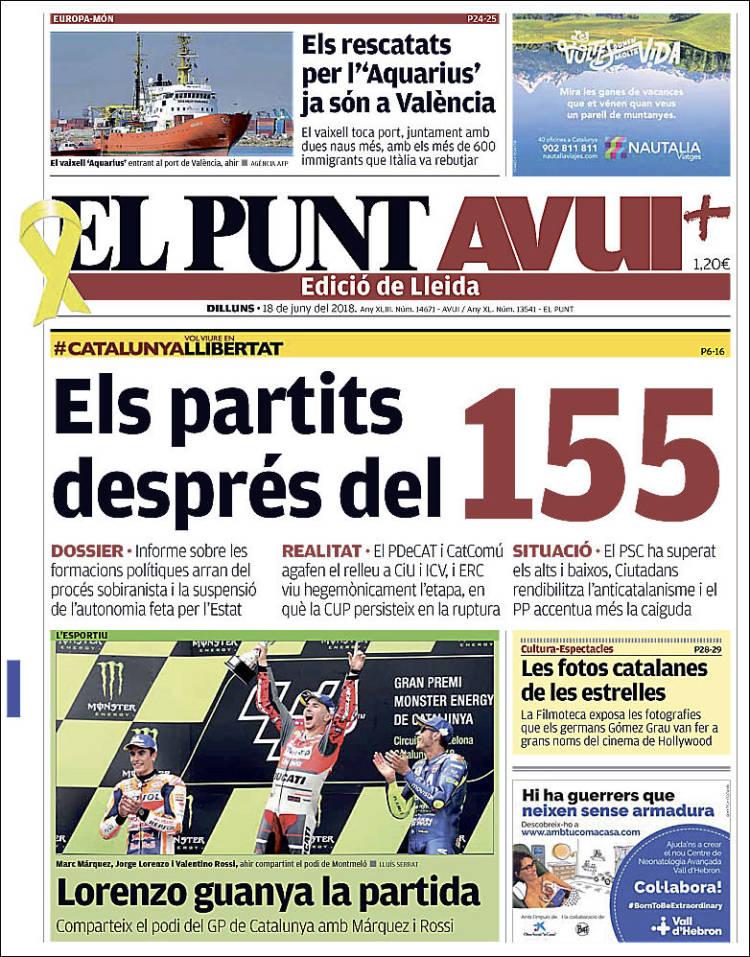 Portada de El Punt-Avui - Lleida (España)