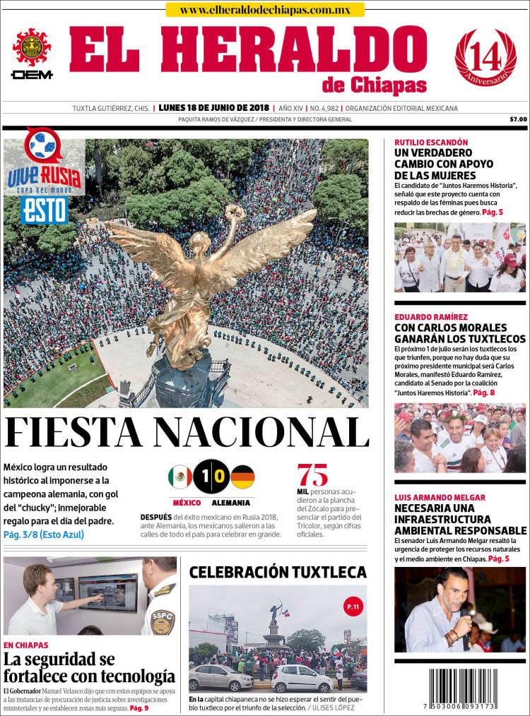 Portada de El Heraldo de Chiapas (Mexico)