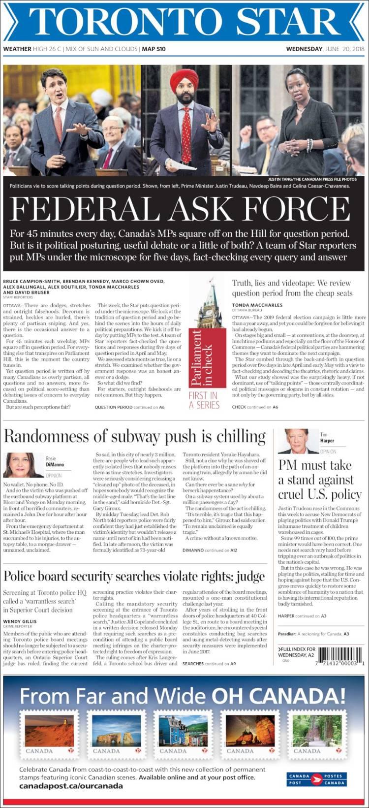 Portada de The Toronto Star (Canada)