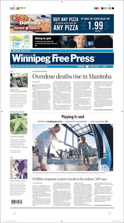 Portada de Winnipeg Free Press (Canada)
