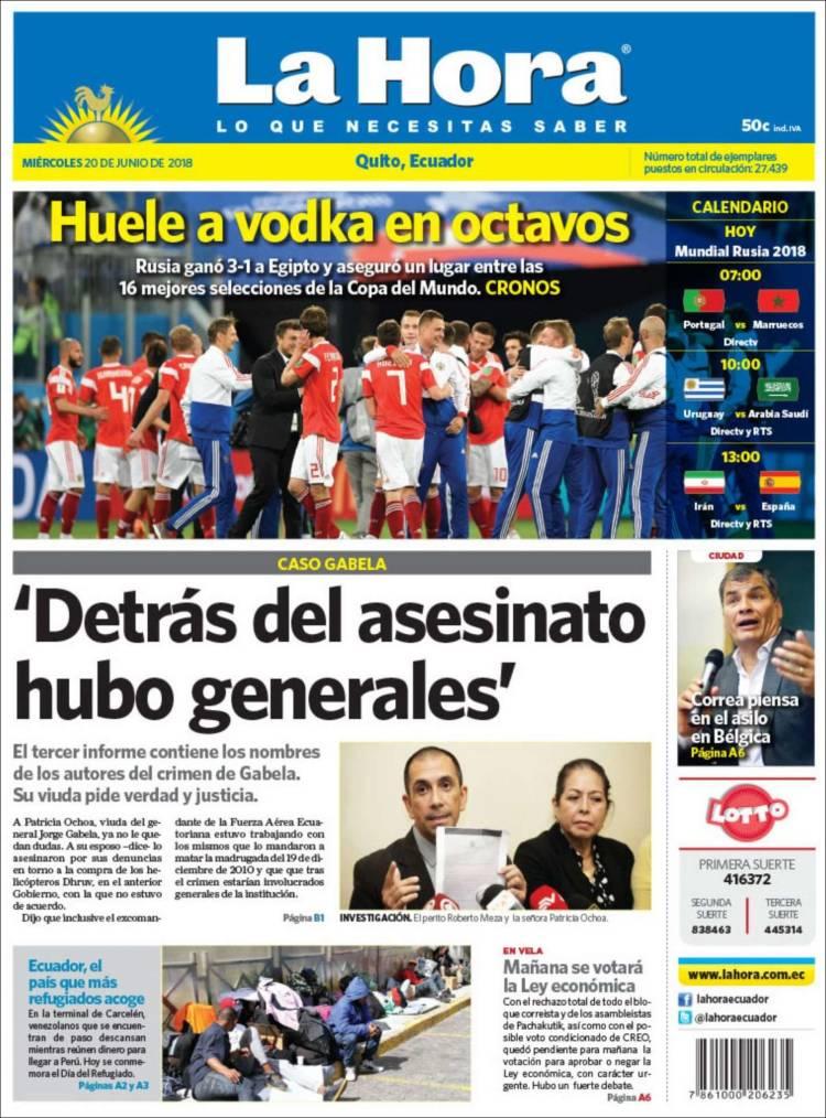 Newspaper La Hora - Ecuador (Ecuador)  Newspapers in Ecuador