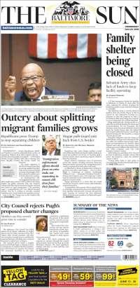 Portada de The Baltimore Sun (États-Unis)