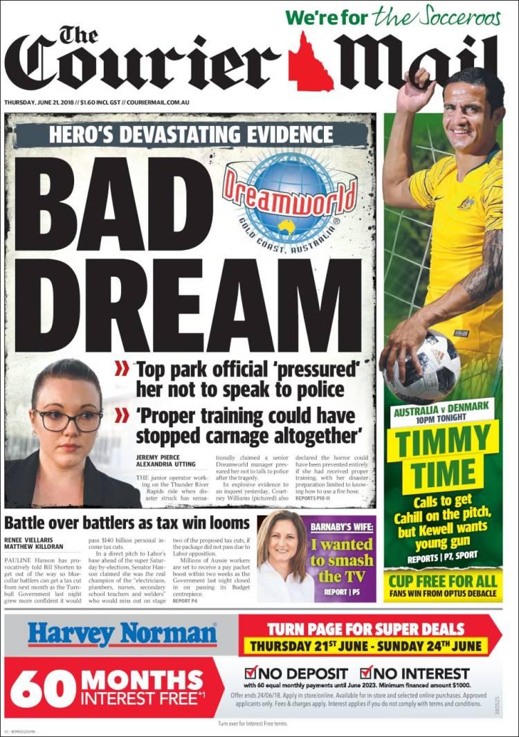Portada de The Courier-Mail (Australie)