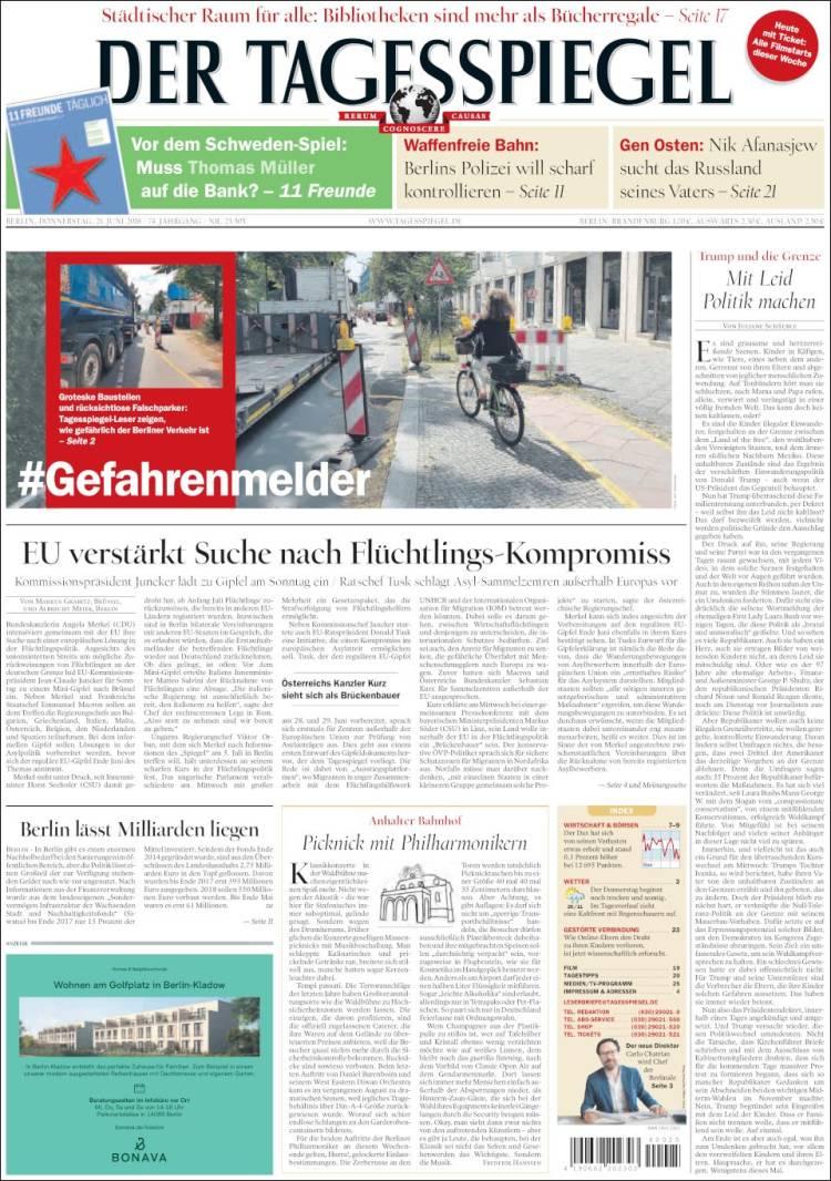 Portada de Der Tagesspiegel (Germany)