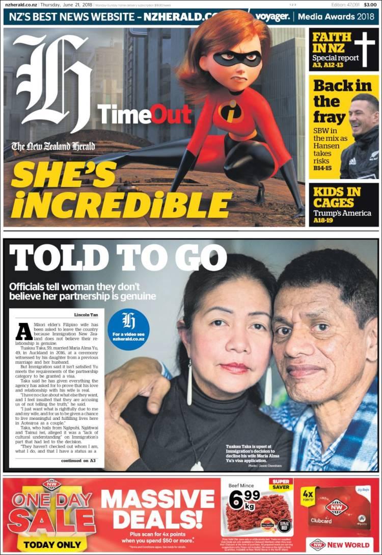 Portada de The New Zealand Herald (Nouvelle-Zélande)