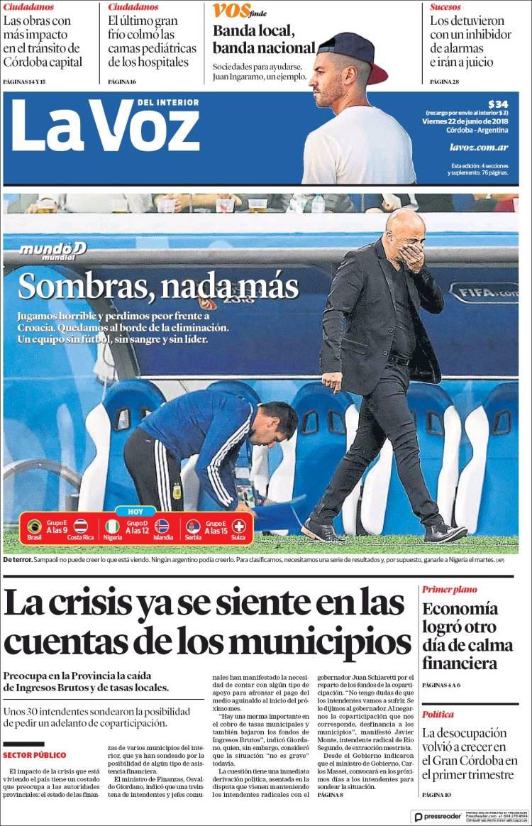 Portada de La Voz del Interior (Argentine)