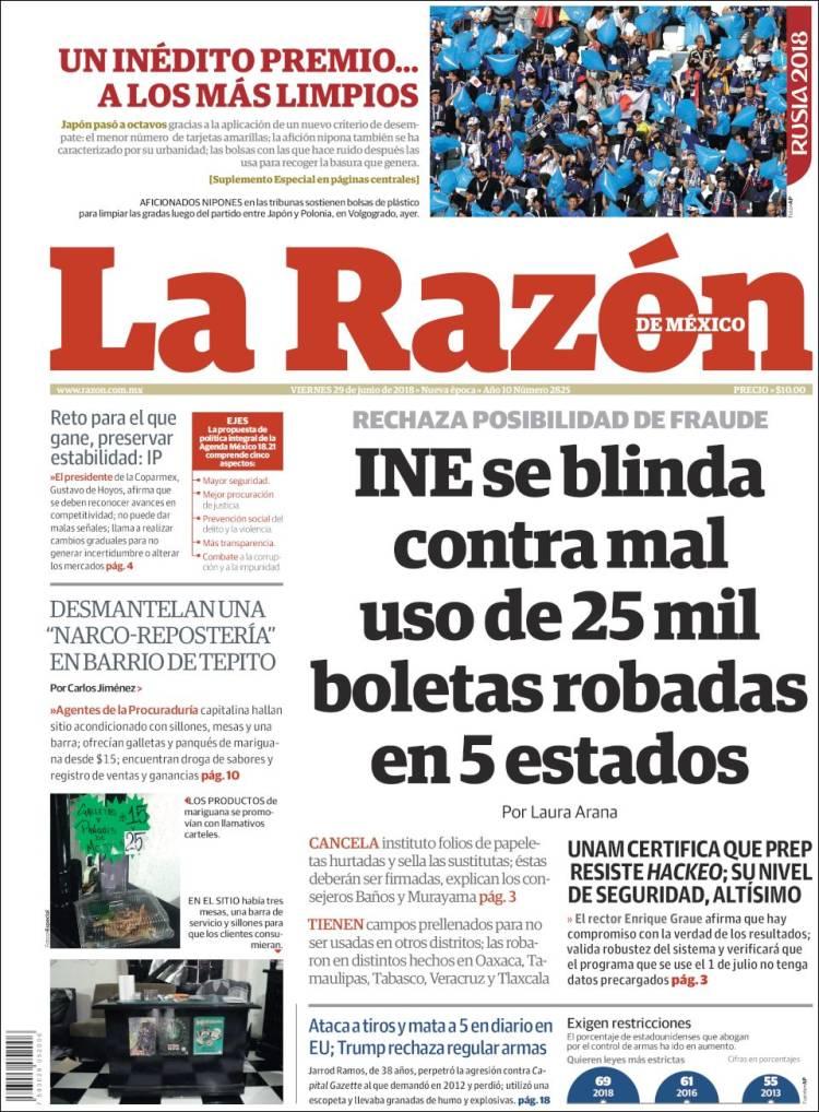 Portada de La Razón (México)