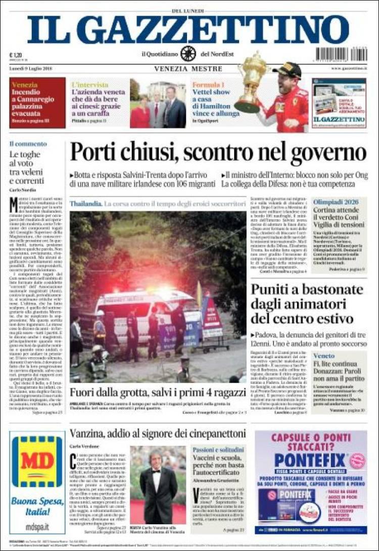 Portada de Il Gazzettino (Italy)
