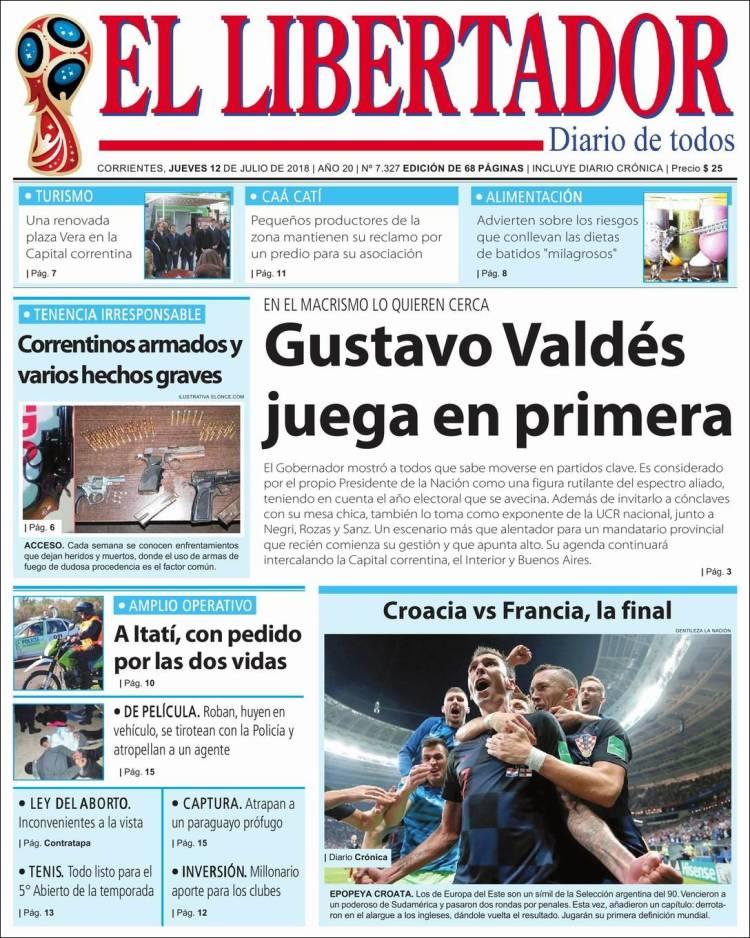 Portada de Diario El Libertador (Argentina)