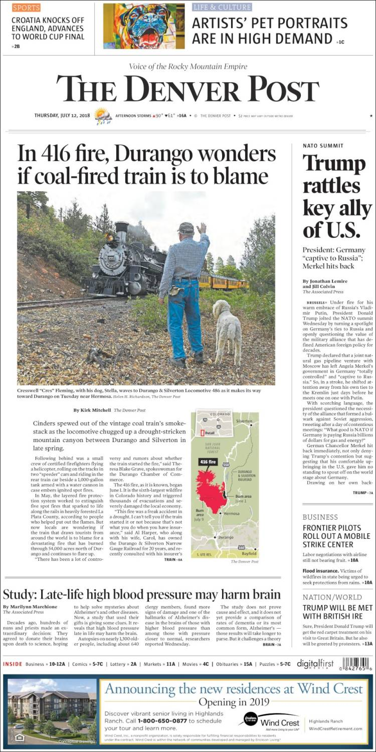 Portada de The Denver Post (USA)