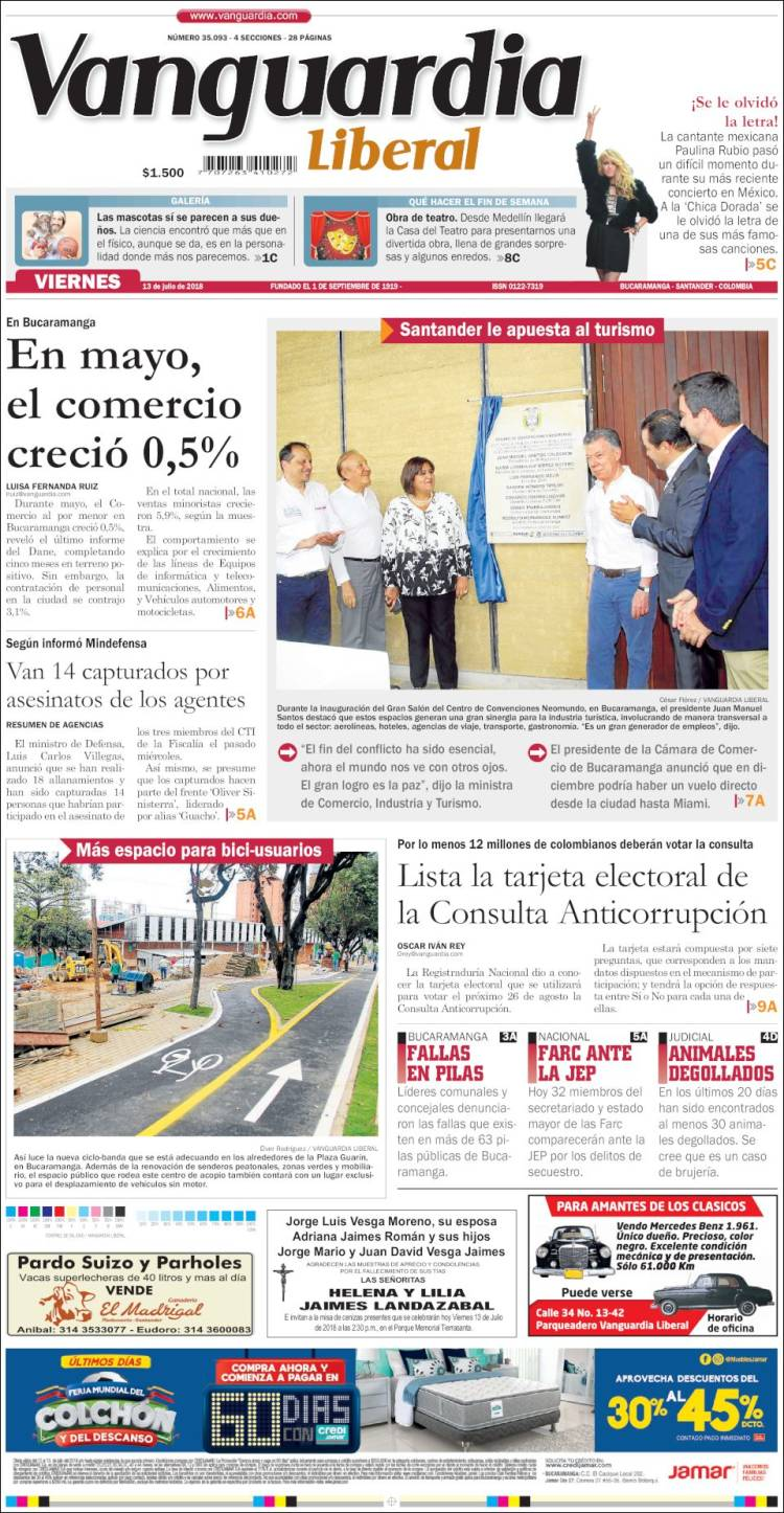 Portada de Vanguardia Liberal (Colombia)