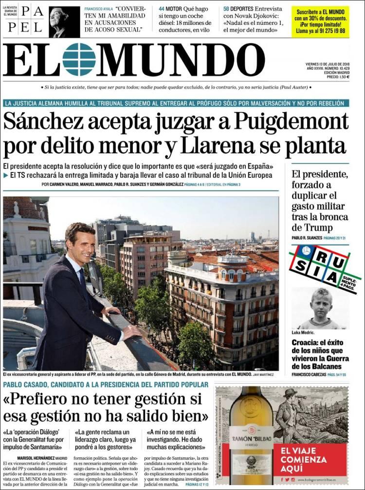 Portada de El Mundo (Spain)