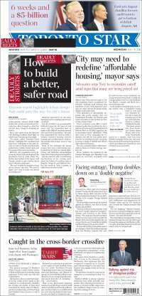 Portada de The Toronto Star (Canadá)