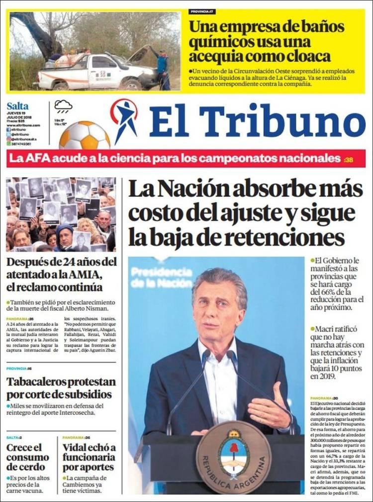 Portada de El Tribuno - Salta (Argentine)