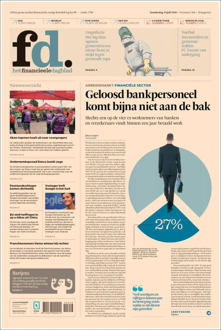 Portada de Het Financieele Dagblad (Países Bajos)