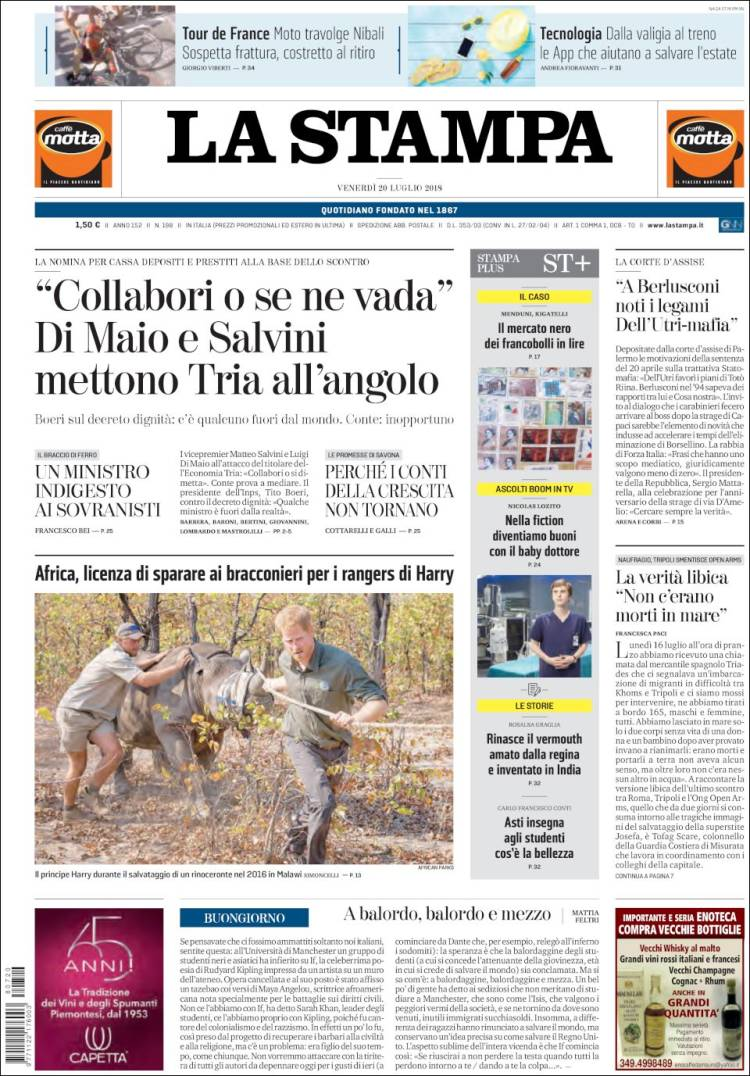 Portada de La Stampa (Italy)
