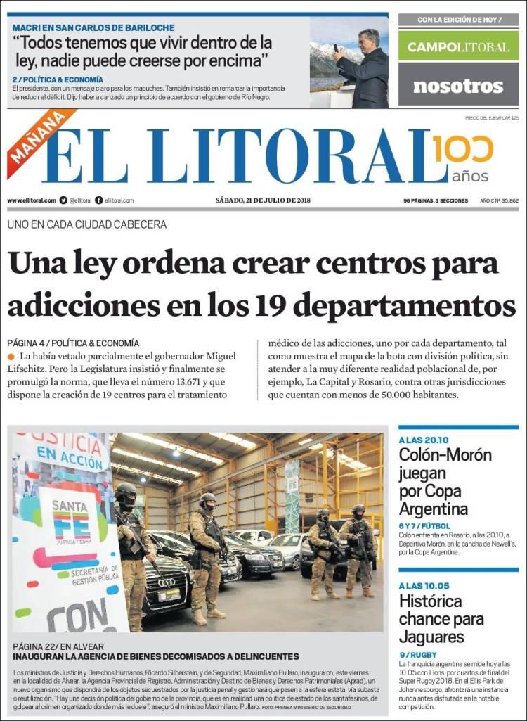 Portada de Diario El Litoral (Argentina)