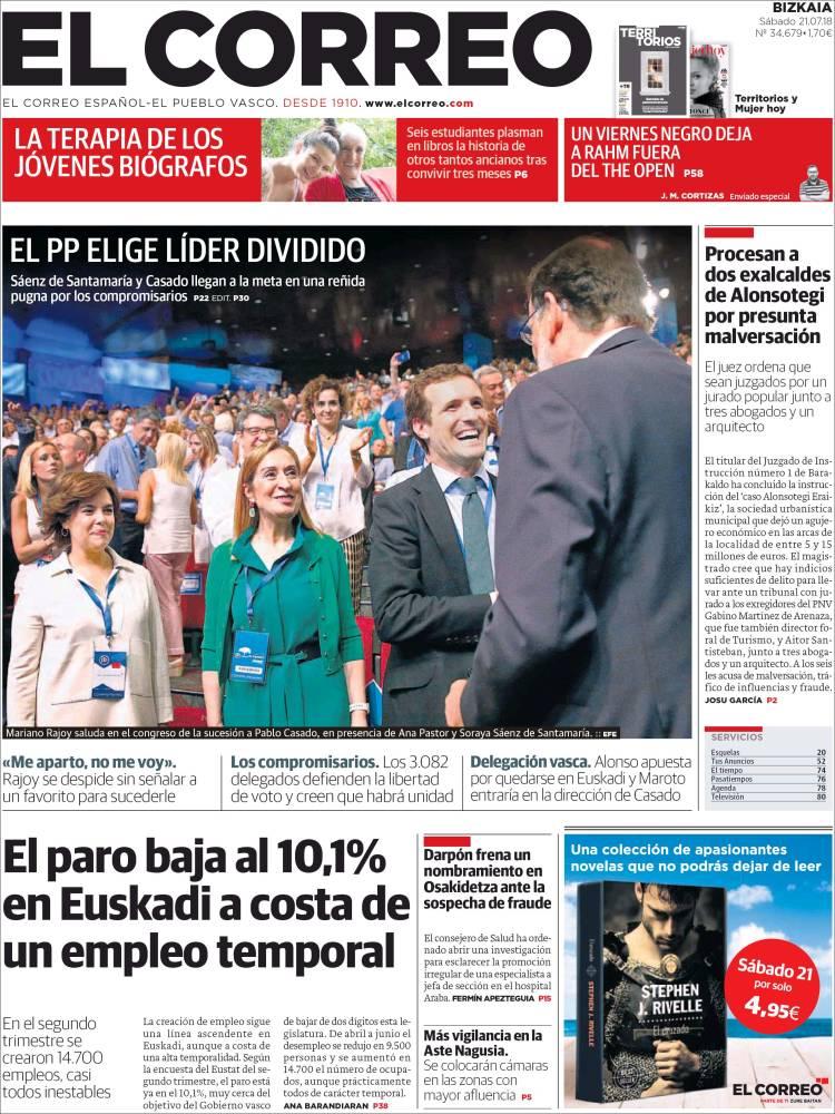 Portada de El Correo (Spain)