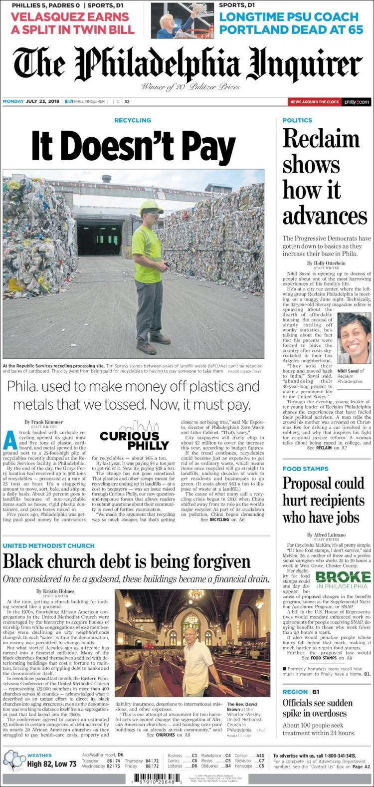Newspaper Philadelphia Inquirer (USA)  Newspapers in USA