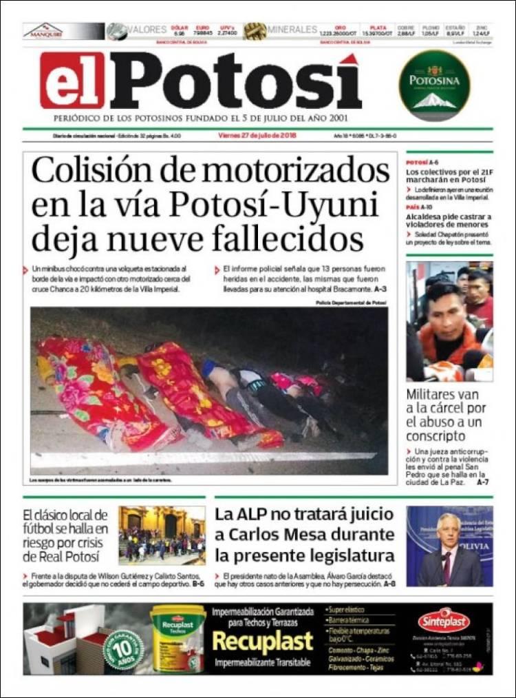 Newspaper Diario De Potosí Bolivia Newspapers In Bolivia