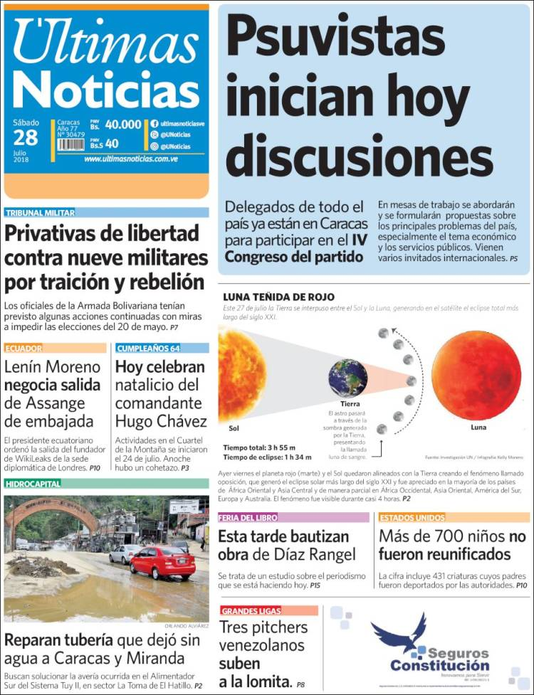Newspaper Últimas Noticias (Venezuela). Newspapers in Venezuela ...