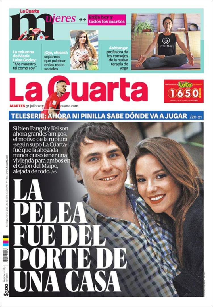 Newspaper La Cuarta (Chile). Newspapers in Chile. Wednesday\'s ...