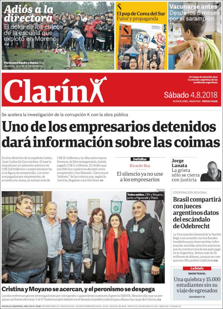 Portada de Clarín (Argentina)
