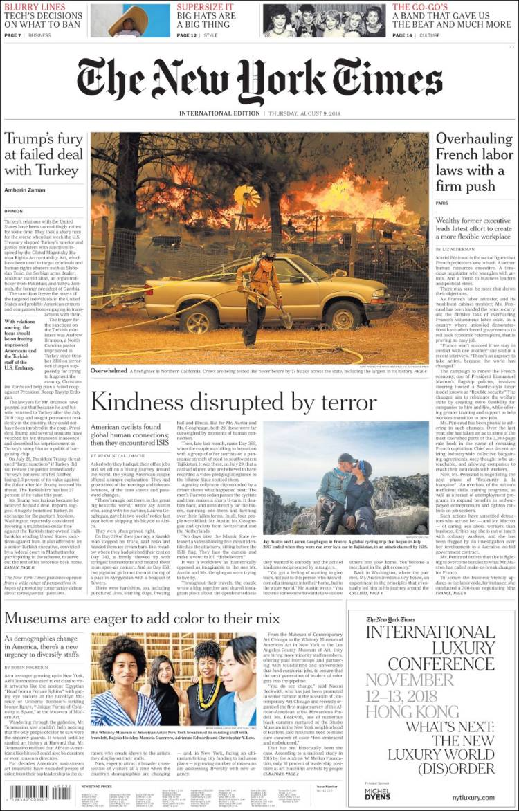 Portada de International New York Times (Europa)