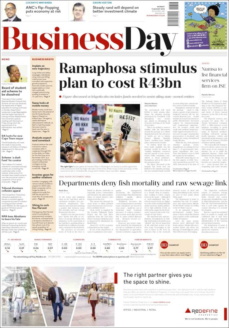 Portada de Business Day (South Africa)