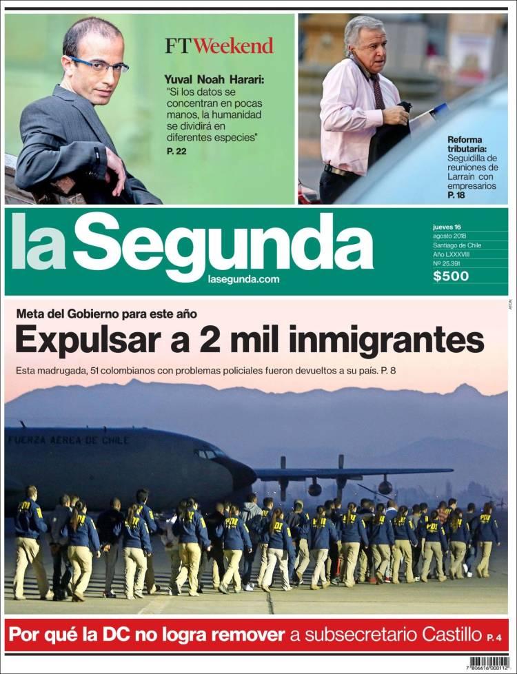 Portada de La Segunda (Chili)